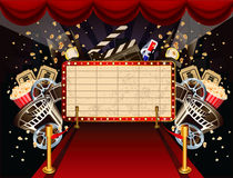 Illustration on movie theme. Illustration of theatre marquee with movie theme objects Stock Photography