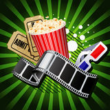 Illustration on movie theme. Illustration of theatre marquee with movie theme objects Royalty Free Stock Photo