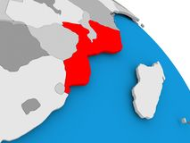 Mozambique in red on map Stock Images