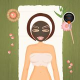 Illustration of mud mask. Woman in wellness Stock Photo