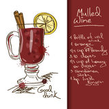 Illustration with Mulled Wine cocktail Royalty Free Stock Photos