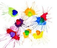 Illustration multicolore abstraite d'aquarelle de coeurs la Saint-Valentin D'isolement sur le fond blanc illustration libre de droits