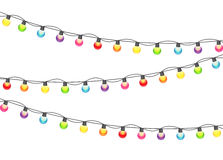 Illustration multicolore de Garland Lamp Bulbs Festive Vector Image libre de droits