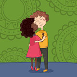 Illustration of multicultural boy and girl kissing Royalty Free Stock Image