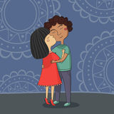 Illustration of multicultural boy and girl kissing Stock Photo