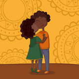 Illustration of multicultural boy and girl kissing Stock Images