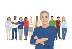 Illustration of Multiethnic People with Contrast Royalty Free Stock Photos