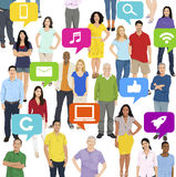 Illustration of Multiethnic People Social Media Concept Royalty Free Stock Images