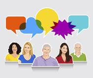 Illustration of Multiethnic People and Speech Bubble Stock Image