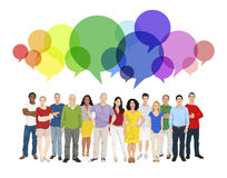 Illustration of Multiethnic People and Speech Bubble.  Royalty Free Stock Image