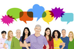 Illustration of Multiethnic People Speech Bubble Concept.  Royalty Free Stock Image