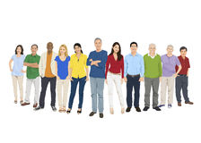 Illustration of Multiethnic People Standing Isolated on White Royalty Free Stock Photos