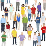 Illustration of Multiethnic People Standing Isolated on White Royalty Free Stock Image