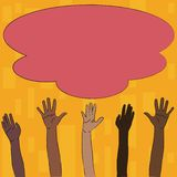 Illustration of Multiracial Diversity Hands Raising Up Reaching for Colorful Fluffy Big Cloud. Creative Background Idea royalty free illustration