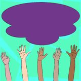 Illustration of Multiracial Diversity Hands Raising Up Reaching for Colorful Fluffy Big Cloud. Creative Background Idea. Multiracial Diversity Hands Raising vector illustration