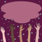 Illustration of Multiracial Diversity Hands Raising Up Reaching for Colorful Fluffy Big Cloud. Creative Background Idea vector illustration