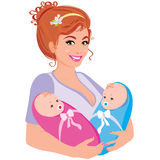 Illustration mum with the two children. Vector illustration young happy mum with the two children Stock Images