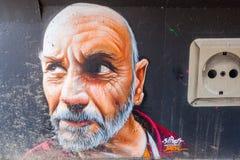 Illustration murale à l'étape dans l'arène à Eindhoven Photos stock