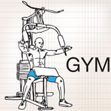 Illustration of muscular man exercising on a lat machine in gym Royalty Free Stock Photo