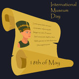 Illustration for the Museum Day with Nefertiti, parchment and text. Illusttration for the Museum Day 18th of May with Nefertiti, parchment and text Royalty Free Stock Image