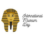 Illustration for the Museum Day with Tutankhamen and text. Illustration for the Museum Day 18th of May with Tutankhamen and text Stock Image