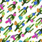 Illustration of mushrooms and leaves seamless pattern on white background Stock Photos