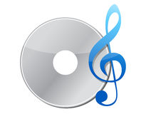 Illustration of music note and cd Stock Photography