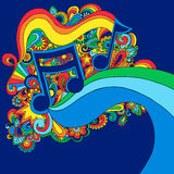 illustration music note psychedelic vector Στοκ Εικόνες