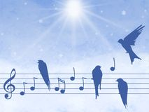 Illustration of music notes with birds Stock Image