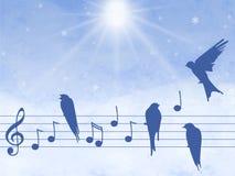 Illustration of music notes with birds. Elegant abctract illustration of music notes with birds Stock Image