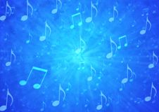 Abstract Music Notes Blast in Blurry Blue Grunge Background stock illustration