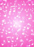 Abstract Music Notes Blast in Blurry Pink Background stock illustration