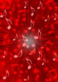 Abstract Music Notes Blast in Blurry Red Background. Illustration of music notes with radial blast effect in blurring red background vector illustration