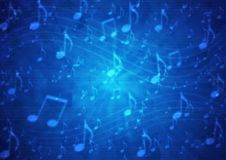 Abstract Music Notes Staff in Blurry Grungy Dark Blue Background vector illustration