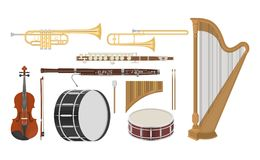 An illustration of musical instruments set. On a white background Royalty Free Stock Images