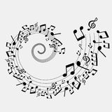 Illustration of musical notes, black and white color Royalty Free Stock Images