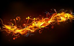 Fiery Music. Illustration of musical notes coming out of fire flame Royalty Free Stock Image