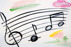 Illustration of musical stave and notes Stock Photos