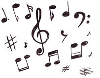 Illustration of musical symbols, treble clef and notes Stock Photo