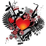 Illustration on a musical theme with a heart Stock Image