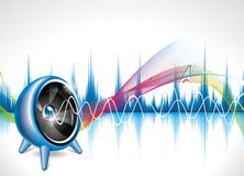 Illustration on a musical theme with speaker. Royalty Free Stock Photos