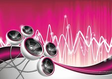 Illustration on a musical theme with speakers. Royalty Free Stock Photo