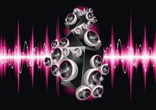 Illustration on a musical theme with speakers. Royalty Free Stock Images