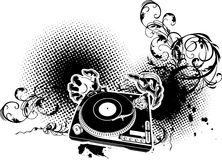 Illustration on  musical theme with turntable Stock Photos
