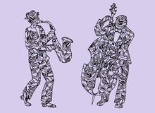 Illustration of musicians. Men who perform music. Saxophone and timpani. Royalty Free Stock Photography