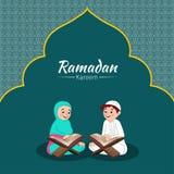 Illustration of Muslim boy and girl reading quran on the occasion of Ramadan Kareem celebration. vector illustration