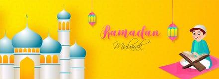 Illustration of muslim boy reading quran in front of mosque for Ramadan Mubarak. stock illustration