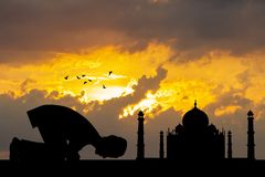 Muslim man prayer. Illustration of Muslim man prayer stock photo