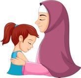 A Muslim mother hugging her daughter royalty free illustration