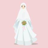 Illustration musulmane de bande dessinée de jeune mariée illustration stock